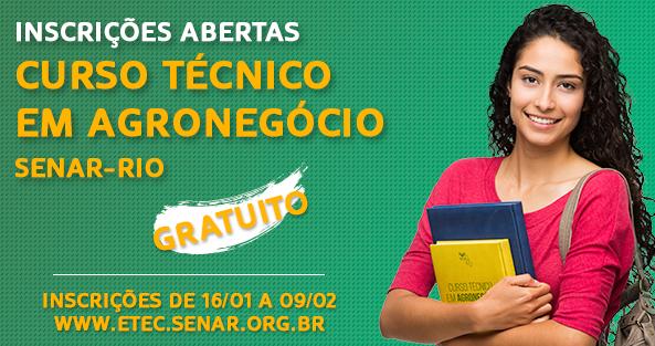 Polos presenciais do SENAR – Rio de Janeiro já recebem inscrições do Curso Técnico em Agronegócio